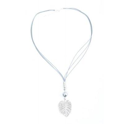 "Lange Halskette ""Blatt"" grau"