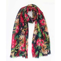 "Scarf ""Lovely flowers"" blue"