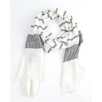 "Scarf ""Sequin & stripes"" black/white"