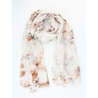 "Scarf ""Romantic butterfly"" taupe"