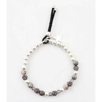 """Bracelet """"Metal & natural stone balls"""" grey-pink"""