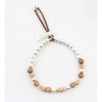"""Bracelet """"Metal & natural stone balls"""" taupe"""