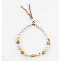 "Bracelet ""Metal & natural stone balls"" yellow"