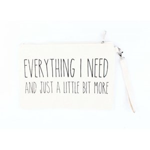 "Toilette Tasche ""Everything I need"" weiß"