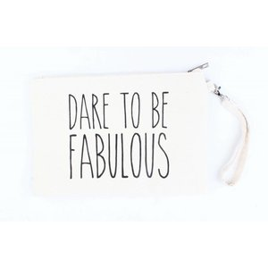 "Toilette Tasche ""Dare to be"" weiß"