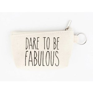 "Sleutelhanger tasje ""Dare to be"" creme wit"
