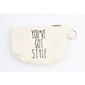 "Sleutelhanger tasje ""You""ve got style"" creme wit"