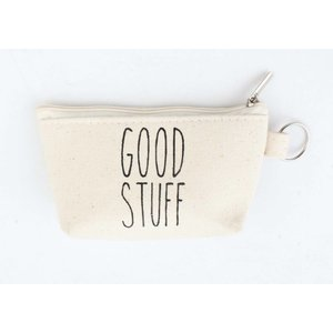 "Sleutelhanger tasje ""Good stuff"" creme wit"