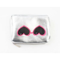 "Make up bag ""glasses"" silver"