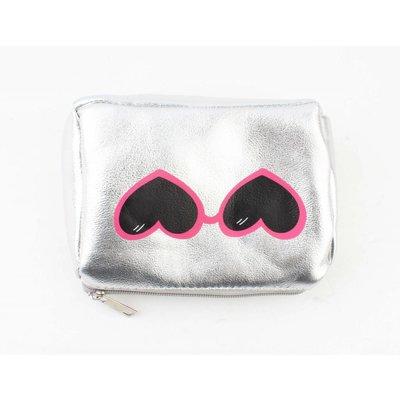 "Make up bag ""glasses"" silver"