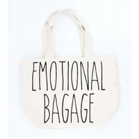 "Brede shopper ""Emotional bagage"" creme wit"