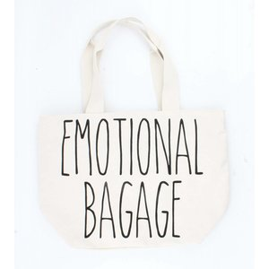 "Brede shopper ""Emotional bagage"" creme wit"