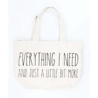 "Brede shopper ""Everything I need"" creme wit"