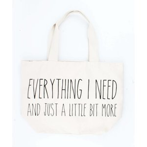 "Brede shopper ""Everything I need"" creme wit"