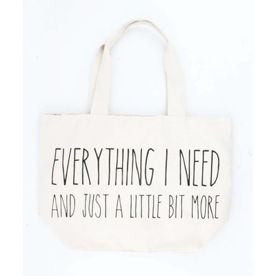 "Breite Shopper ""Everything I need"" weiß"