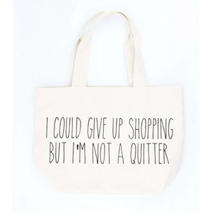 "Brede shopper ""I am not a quitter"" creme wit"