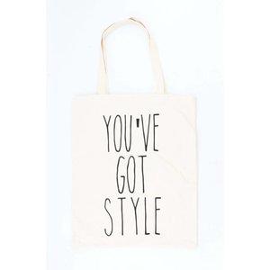 "Shopper ""You""ve got style"" creme wit"