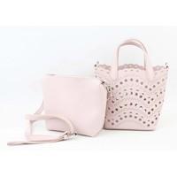 """Handbag """"Laser cut"""" pink"""