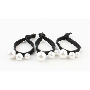 "Hair elastics ""Pearls"" black, per 3pcs."