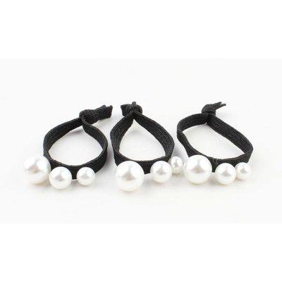 """Haar-Gummibänder """"Perlen"""" schwarz, pro 3 Stück"""