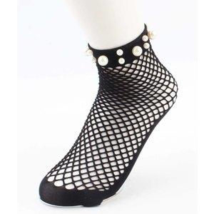 "Socks ""Fishnet & Pearls"" black"
