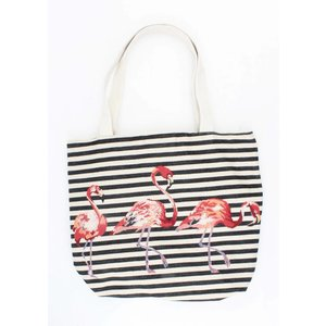 "Shopper/Strandtas "" Striped flamingo""zwart"