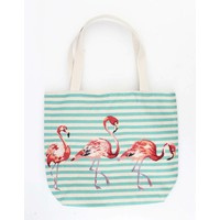"Shopper/Strandtasche ""Striped Flamingo"" blau"