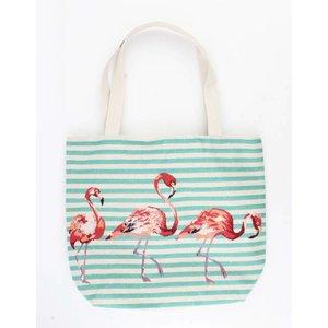 """Shopper/beach bag """"Striped flamingo"""" blue"""