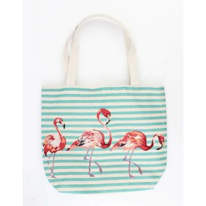 "Shopper/Strandtas ""Striped flamingo"" blauw"