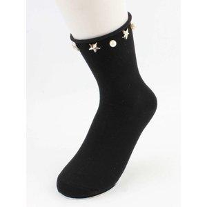 """Socken """"Stars & Perlen"""" schwarz, doppeltpackung"""