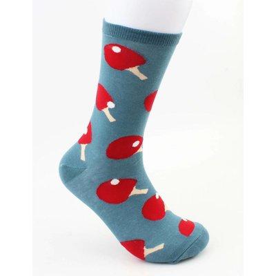 """Heren sokken """"Ping pong"""" blauw"""