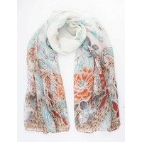 "Scarf ""Romantic spring"" white"