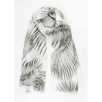 """Scarf """"Palm leaves"""" white"""
