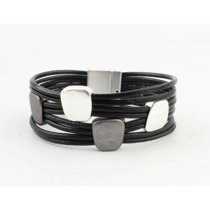 """Armband """"Metalen vierkanten"""" zwart"""