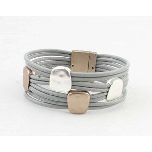 "Armband ""Metalen vierkanten"" grijs"