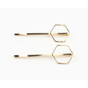"""Haarschuifjes """"Hexagon"""" goud, per 2 paar"""