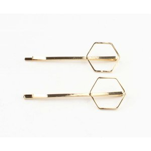 "Hair sliders ""Hexagon"" gold, per 2 pairs"