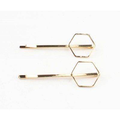 """Haarspangen """"Hexagon"""" gold, doppelpack"""