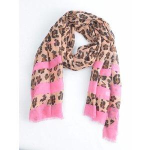 "Schal ""Leopard"" braun/rosa"