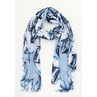 "Scarf ""Colored leaves"" blue"