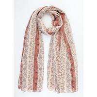 """Scarf """"Small leaves"""" light pink"""