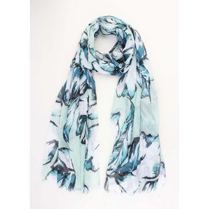 "Scarf ""Colored leaves"" Mint Green"