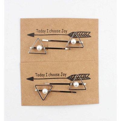 """Haarschuifjes """"Triangel"""" zilver, per 2 paar"""
