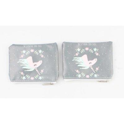 "Kosmetik Tasche ""Magic"" grau, doppelpack"
