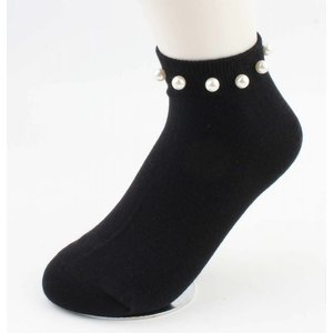 """Knöchel Socken """"Perlen"""" schwarz, doppelpack"""