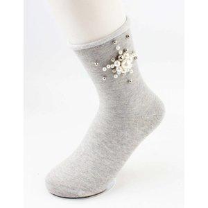 "Sokken ""Pearls flower"" grijs, per 2 paar"