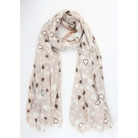 """Sjaal """"Strass heart"""" taupe"""