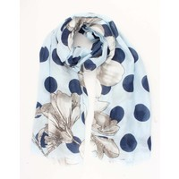 "Scarf ""Dots & Flowers"" blue"