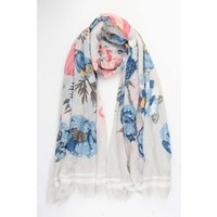 "Scarf ""Golden flower"" grey"