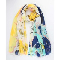 "Scarf ""Flower art"" yellow"